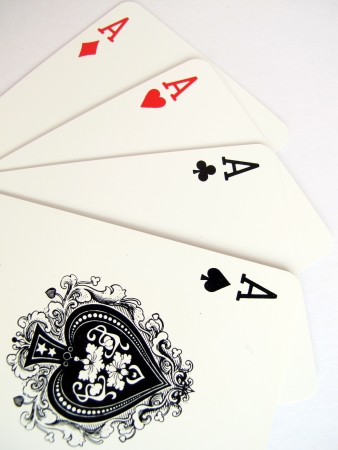 ace of club: four aces playing cards                               Stock Photo