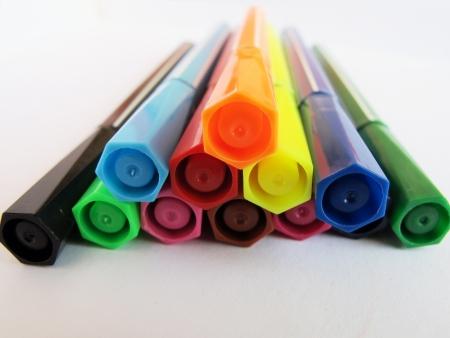 color marker line up on white background