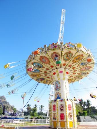chain swing ride in amusement park