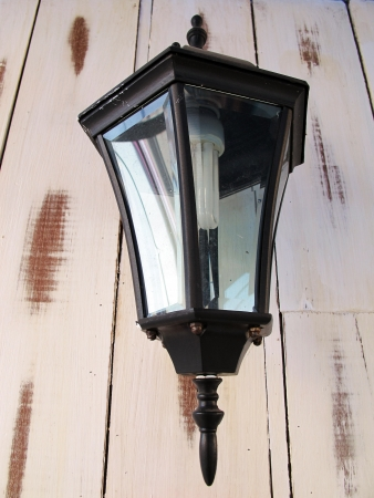 lamp with old wood wall photo