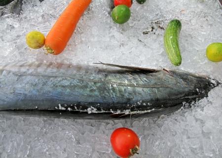 aileron: big fish on ice - seafood display at the restaurant  Stock Photo