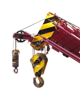 building crane boom with steel hook photo