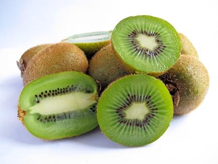 group of kiwi fruit isolated on white