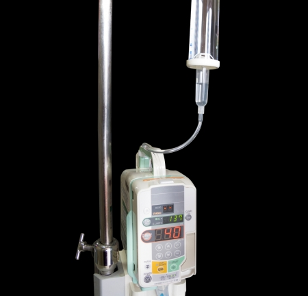 Infusion pump and saline IV solution dropper