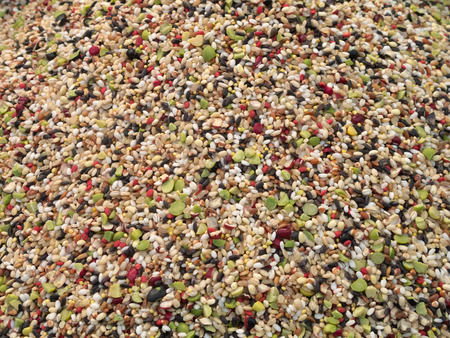 Background of mixed cereal grains, seeds and beans
