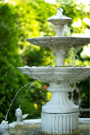 Fonte decorativa no jardim Imagens