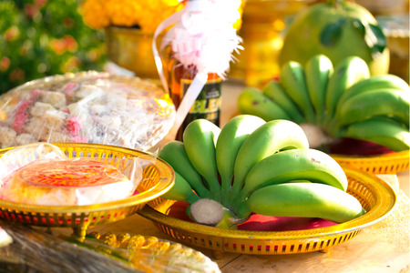 relaunch: Fruits and dessert in Thai engagement ceremony   Stock Photo