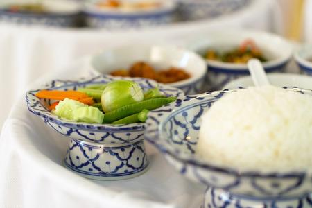 Close-up de legumes e arroz em padr