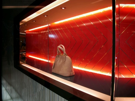window display: Window display of Louis Vuitton at Central World Shopping Center, Bangkok.