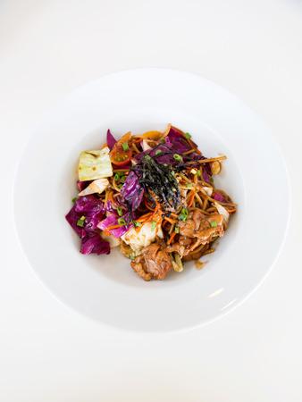 yakisoba: Yakisoba Pasta on white plate - fusion food.