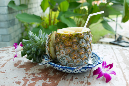 Freezing pineapple served in Thai style at restaurant.