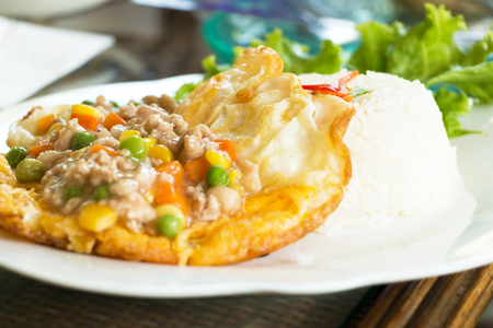 Fried egg garnished with minced pork and vegetables in three colors served with rice.
