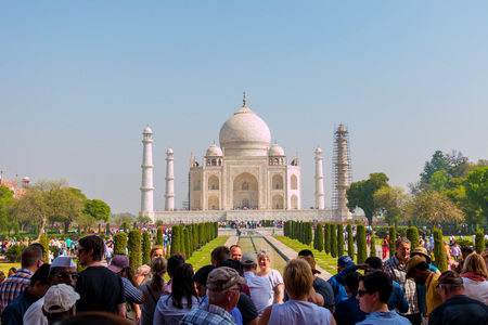 AGRA, INDIA - April 9: Many tourists visit the Taj Mahal, 1 of 7 wonders of the world that built for 363 years ago so it always has to be repaired to keep good condition on April 9, 2017 in Agra, India. Editorial