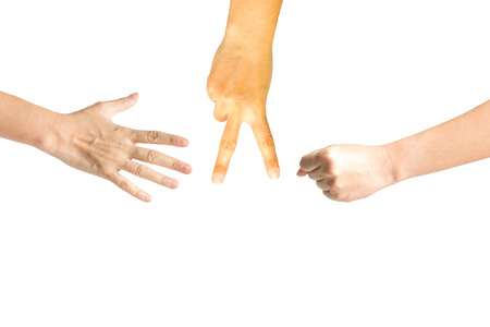 Hand sign showing rock, paper and scissors like playing rock paper scissors game in meaning of competition.