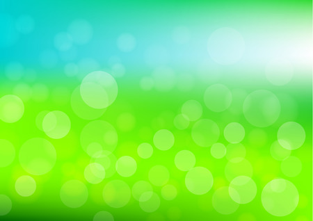 Bokeh background vector in green and blue color; bokeh in daylight in the green garden and blue sky Illustration