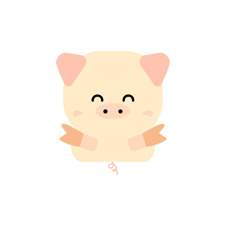 Simple cute pig vector; Chinese New Year 2019; the year of pig. Vektorové ilustrace