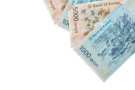 South Korea money in won currency; value 1000 won and 5000 won on white background.