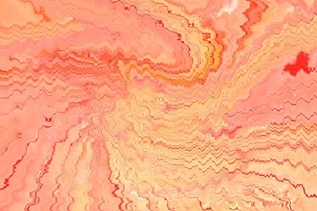 Abstract background of marbling art from the wavy and ripple curl line in pastel tone of pink, red and beige color.