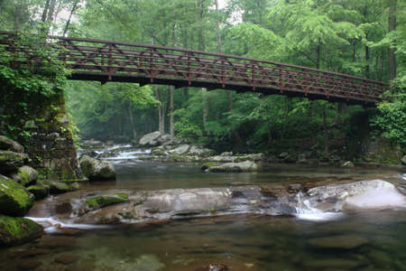 bridge over a smoky mountain brook photo