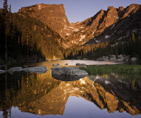 Hallett Peak Reflected in Dream Lake - Rocky Mountain National Park Stock Photo - 13134974