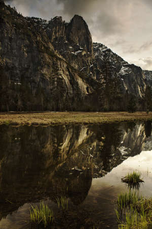 Cathedral Rocks Reflected in the Merced River - Yosemite National Park, CA Stock Photo - 13779550