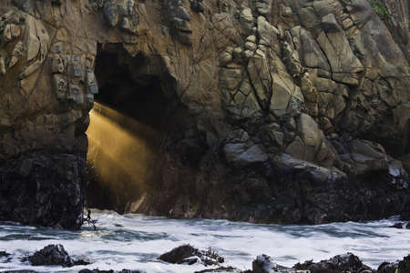 Light Shaft throuch a Coastal Cave, California