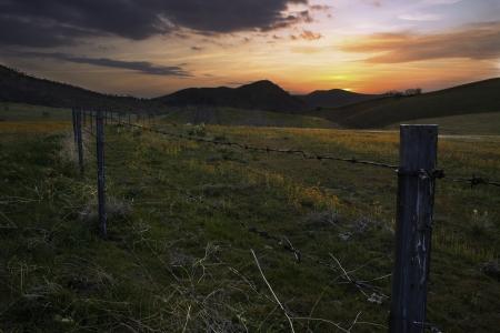 Sunset over a California Farm Stock Photo