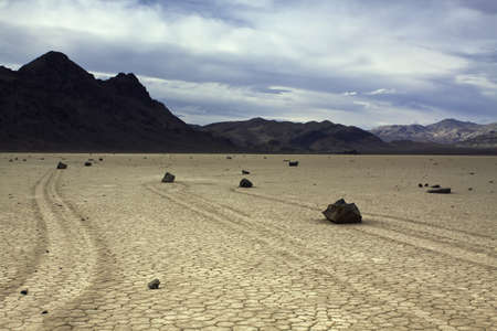 Mud and Moving Rocks - Death Valley National Park, California Stock Photo