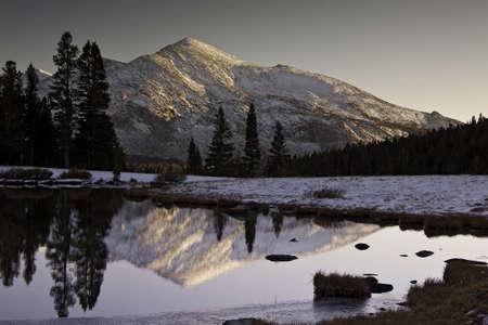 Sierra Mountain Peak Reflected in a Lake - Yosemite National Park