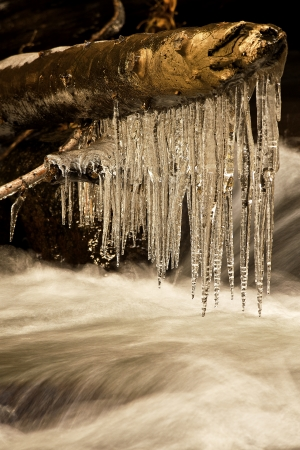 Icicles over a Mountain Brook, California Stock Photo