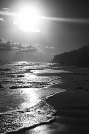 Sunset on a Californian Coastline - Black and White photo