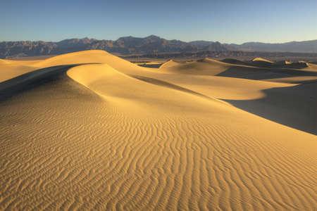 duna: ondulaciones en las dunas de arena del Valle de la Muerte Foto de archivo