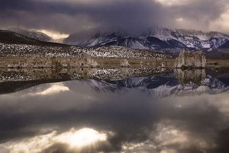 Winter storm blowing in on Mono Lake Stock Photo - 14773328