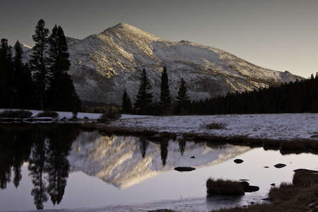 Winter mountain peak reflected in a mountain lake Stock Photo - 14773187