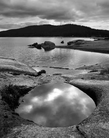 Black and White sierra mountain landscape at Saver Lake Stock Photo - 14773354
