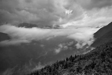 Clouds Floating in the Valley Below -Black and White photo