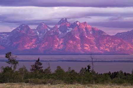 Stormy sunrise at Grand Tetons National Park Stock Photo