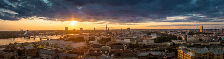 Panorama of the city from the top of the Latvian Academy of Sciences, Riga, Latvia Stock Photo