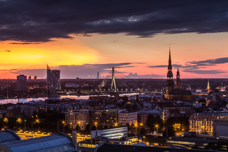 Landscape of the city from the top of the Latvian Academy of Sciences, Riga, Latvia