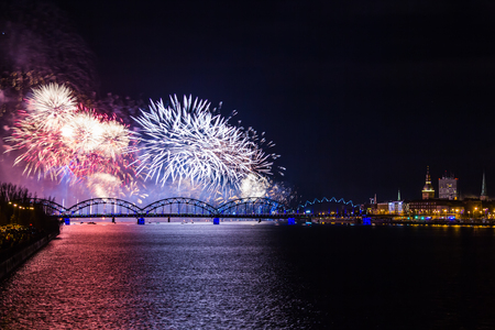 fireworks on Independence Day in Riga, Latvia, on 18th of November 2018