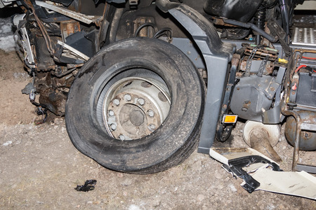 Car accident on a A7 road on 12th of February 2019, truck after a collision with a car, transportation background Stock Photo - 121890160