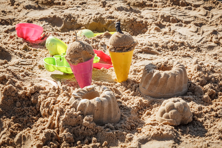 Ice cream made from sand on a beach in spring