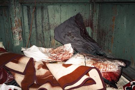 Crime scene, murder in old abandoned house, work of investigators Stock Photo - 121890206