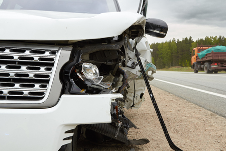 off road car after frontal collision with another vehicle Stock Photo - 126777034