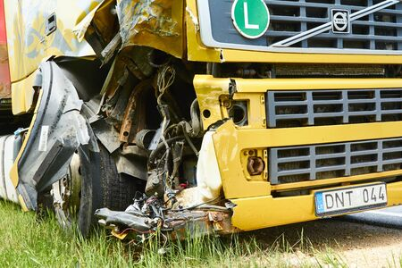 Damages of truck after collision with car, accident happened in May 23, 2019, in Latvia next to Pinki