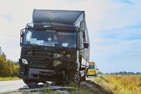 Svetciems, Latvia, August 29, 2019: accident on a road, car collision with a heavy truck