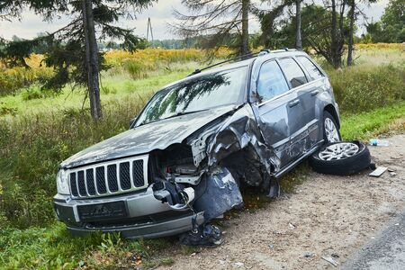 Kekava, Latvia, September 16, 2019: car after a collision with a heavy truck, transportation background Editorial