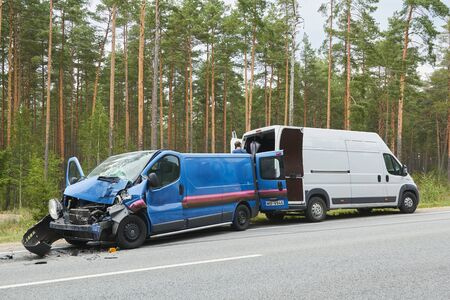 Spunciems, Latvia, August 29, 2019: van after accident on a road because of frontal collision, transportation background Editorial