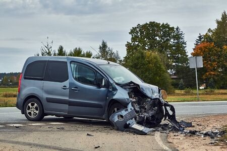 October 3, 2019, Marupe, Latvia: car after accident on a road because of collision with another vechicle, transportation background Stock Photo