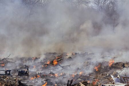 Fire on the illegal dump in Riga, Latvia Banque d'images